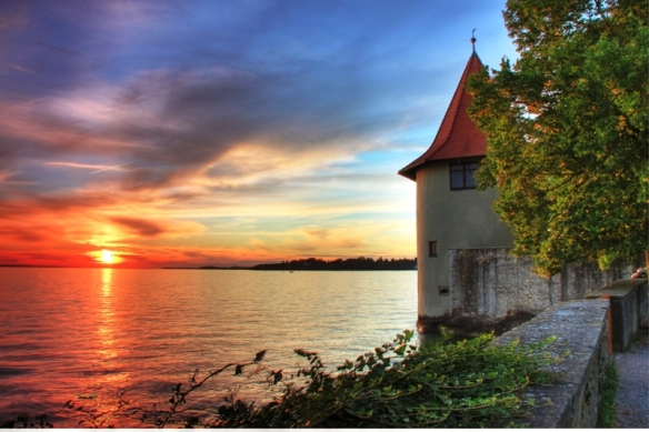 Lindau sunset, one of the most beautiful views over Bodensee