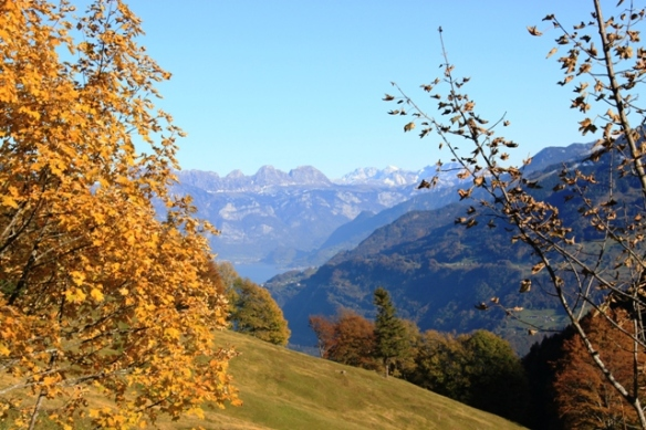 Swiss hiking in Niederurnen in autumn