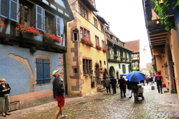 Rainy day in Riquewihr, Alsace, France