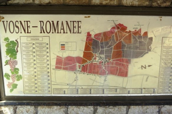 Vosne-Romanee vineyard map, Burgundy, France
