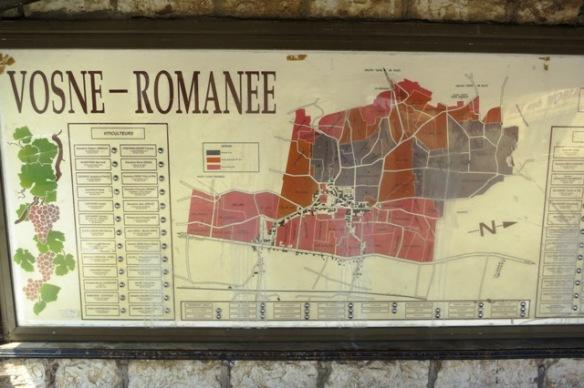 Vosne-Romanee vineyard map, Burgundy, France