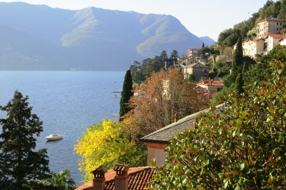 Lake Como in autumn colours in October